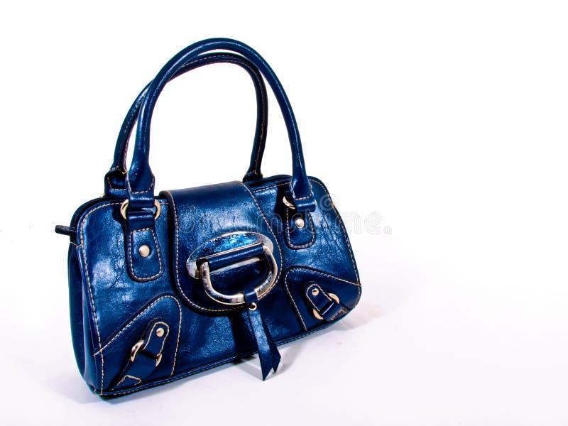 Leather blue handbag royalty free stock photos