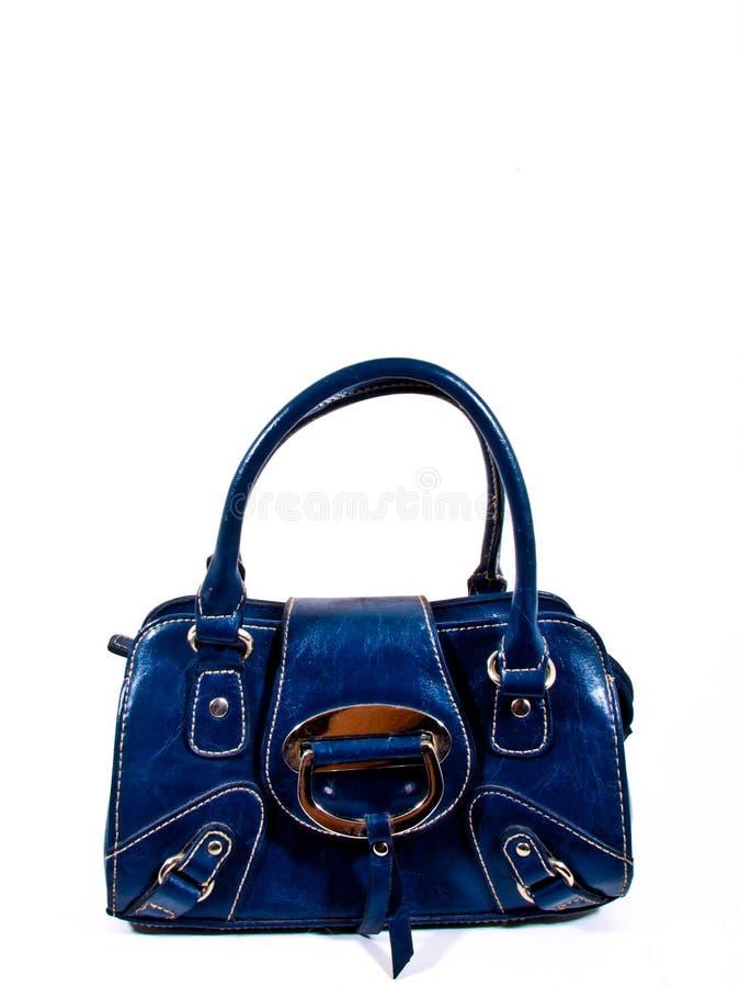 Leather blue handbag stock image