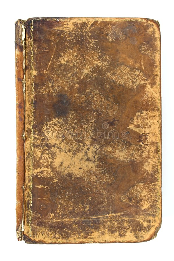 Leather Book Cover. A grungy leather cover on an antique book stock photos