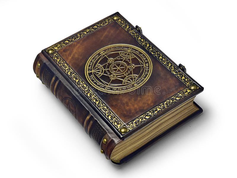 Leather book with gilded transmutation circle in center of the front cover, attributed to a German alchemist from the 17th century. Captured isolated while royalty free stock images