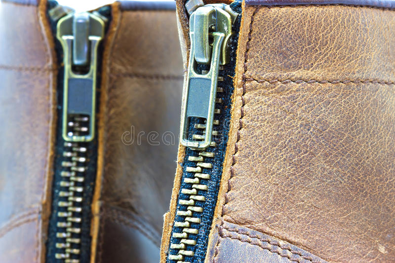 Leather boot with zipper. On shoe royalty free stock image