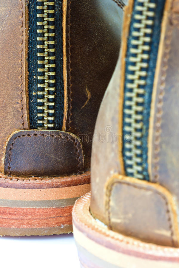 Leather boot with zipper. On shoe royalty free stock images