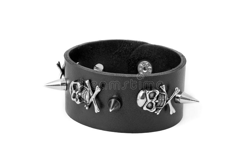 Leather bracelet. Isolated on white royalty free stock image