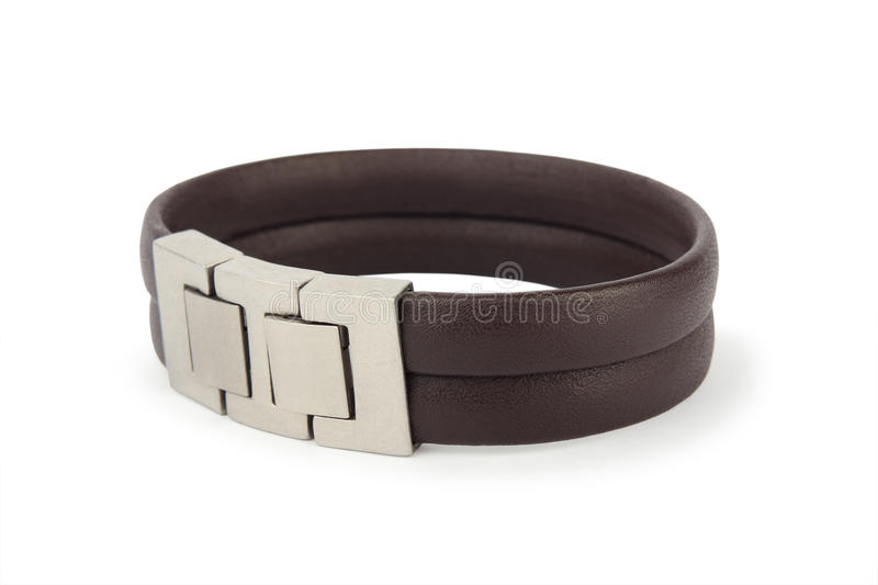 Leather bracelet on white. Leather bracelet with stainless steel lock, isolated on white background stock photography