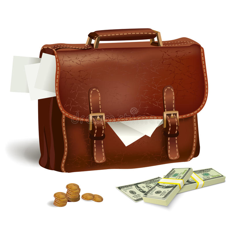 Download Leather Briefcase With Documents And Money Stock Vector - Image: 39488170