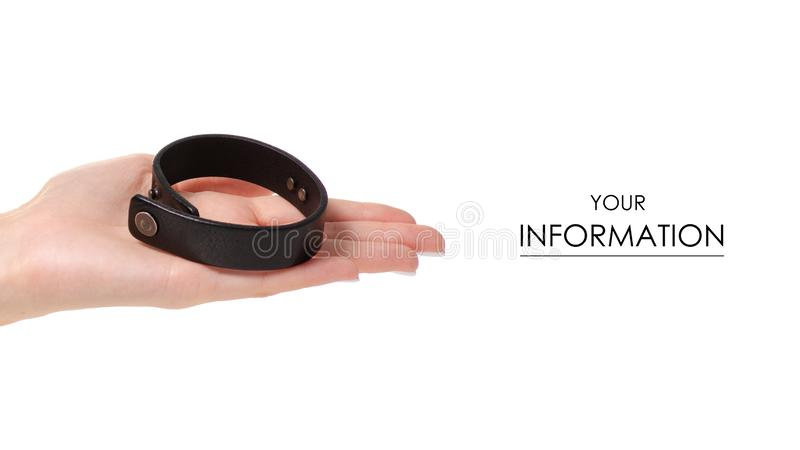 Leather brown bracelet in hand pattern. On white background isolation stock images