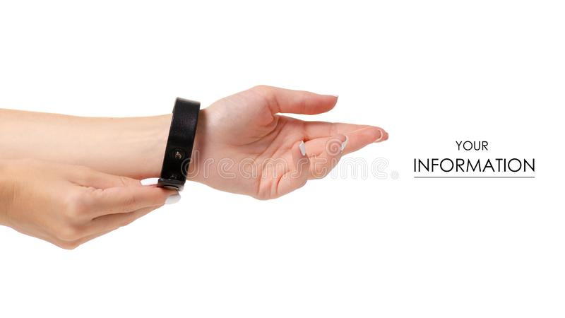 Leather brown bracelet in hand pattern. On white background isolation stock photography