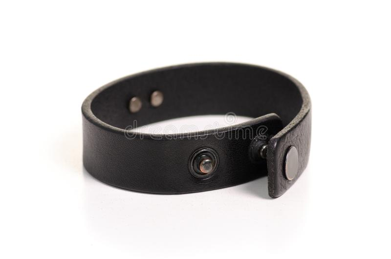 Leather brown bracelet. On white background isolation royalty free stock image