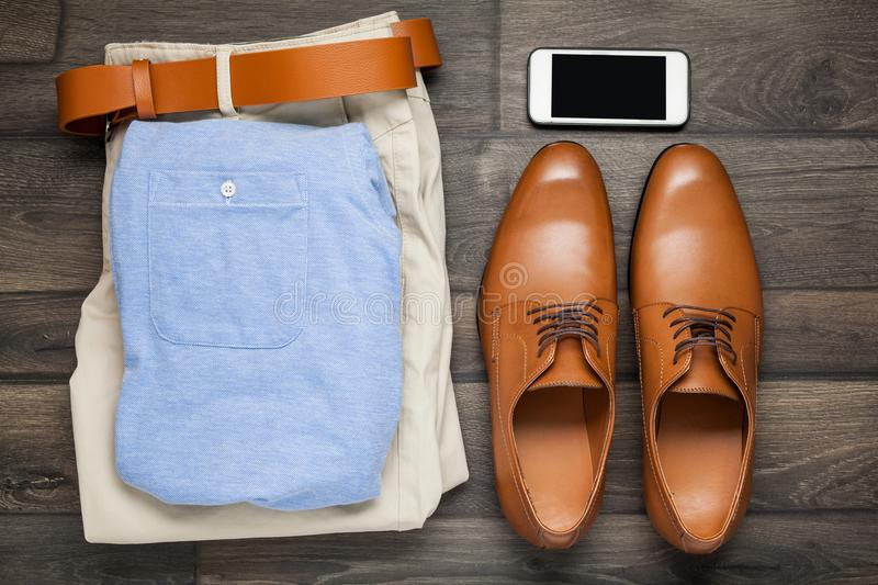 Leather brown shoes, white hat, royalty free stock images