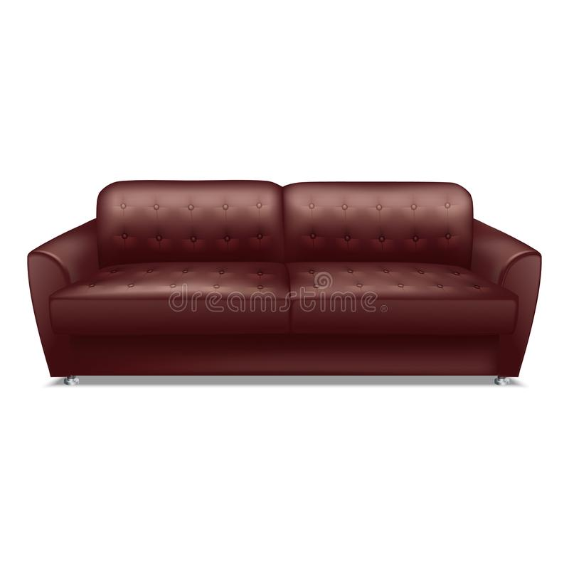Leather brown sofa icon, realistic style. Leather brown sofa icon. Realistic illustration of leather brown sofa vector icon for web design isolated on white stock illustration