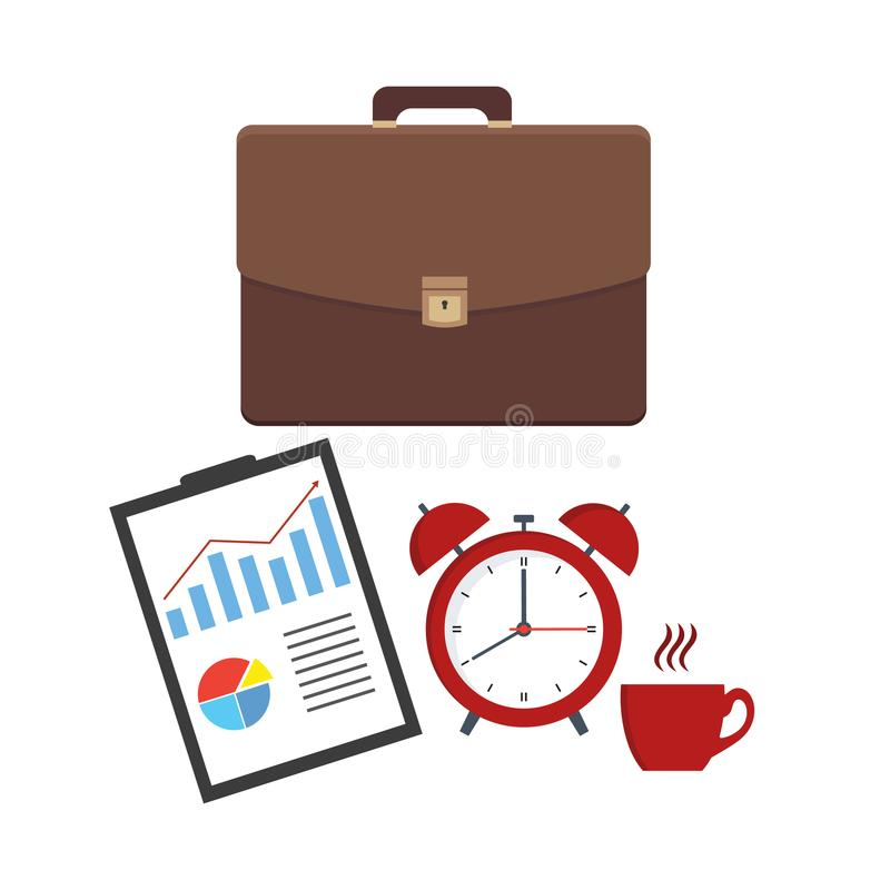Leather business briefcase and documents sheet. Office contracts, agreements, reports. Bag with docs and forms and alarm clock wit. H a cup on a white background royalty free illustration