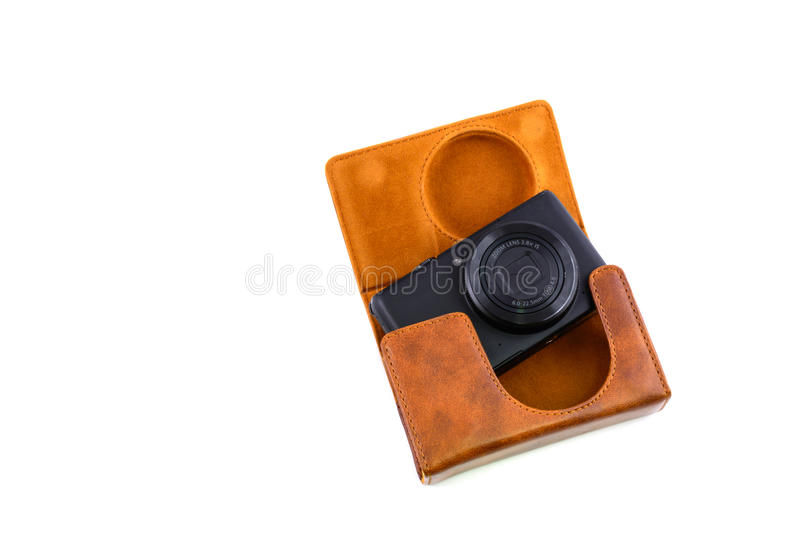 Leather camera case royalty free stock photos