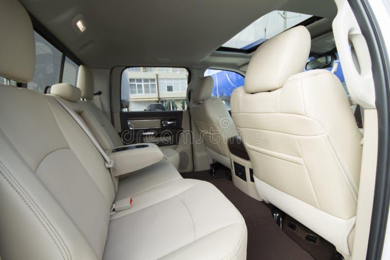Leather car interior stock image