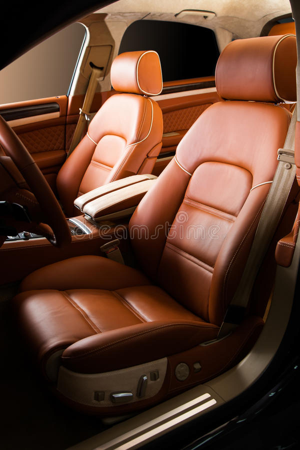 Leather car seat. Close up photo stock images