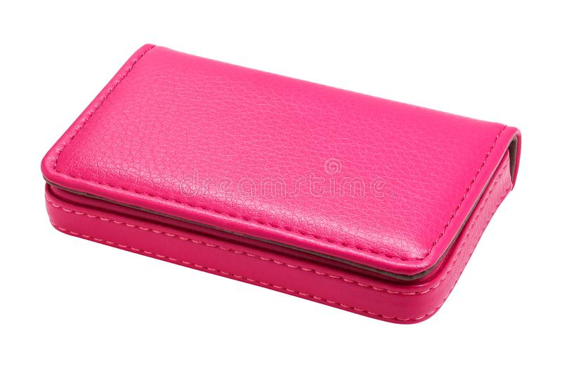 Leather card holder isolated on white background. Template of pink leather wallets for your design.  Clipping path. Leather card holder isolated on white stock image