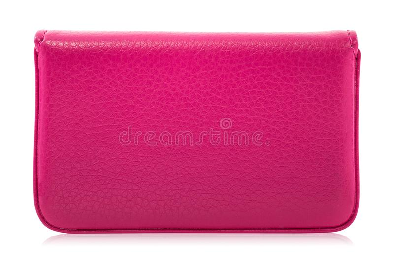 Leather card holder isolated on white background. Template of pink leather wallets for your design.  Clipping path. Leather card holder isolated on white royalty free stock images