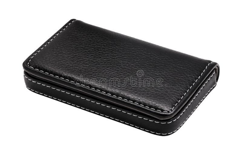 Leather card holder isolated on white background. Template of leather wallets for your design.  Clipping path. Leather card holder isolated on white background stock images