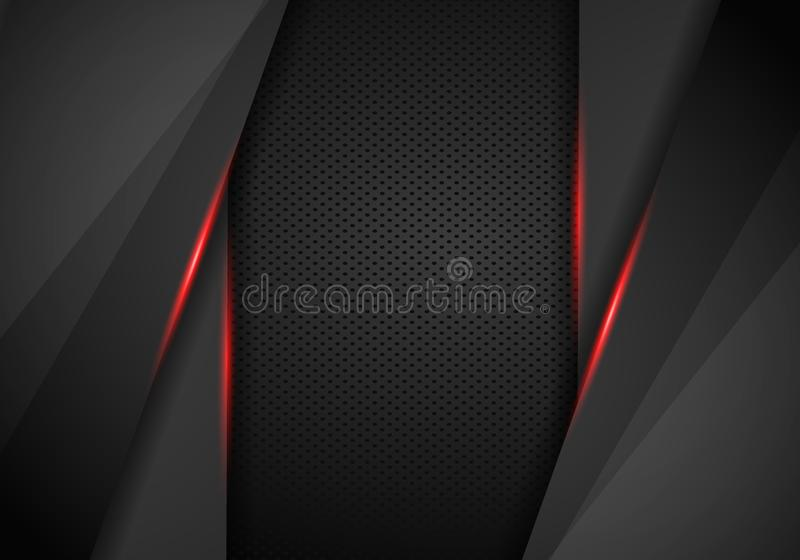 Leather Chrome Automotive background. Black and red metallic background. Vector illustration royalty free illustration