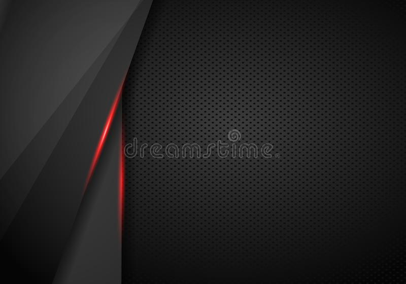 Leather Chrome Automotive background. Black and red metallic background. Vector illustration. Template, layout, concept, frame, art, gamer, abstract, advertise royalty free illustration
