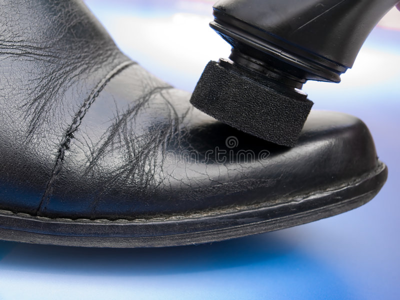 Leather cleaning stock photography