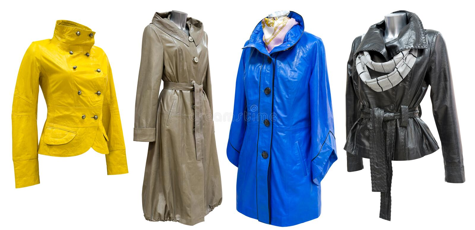 Leather coats set. Four leather ladies coats in a set, isolated stock images