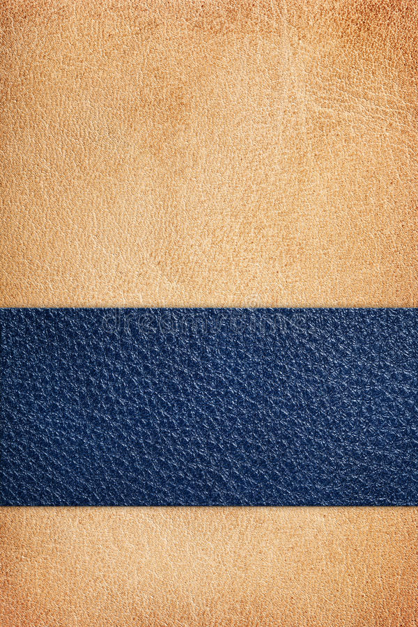 Leather Composition. Beige natural leather texture with blue stripe, composition for background royalty free stock image