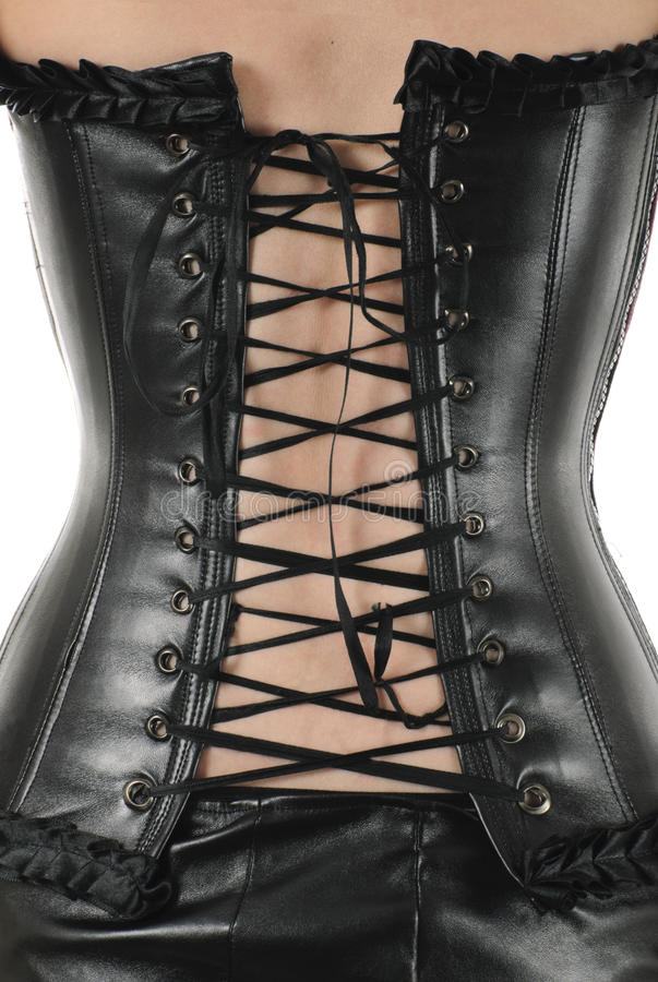 Leather corset with lacing   Isolated royalty free stock photos