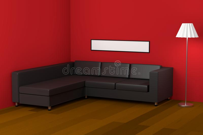 Leather couch stock illustration