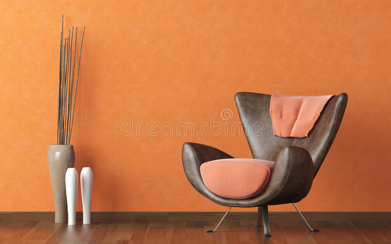 Leather couch on orange wall. Interior design scene with modern brown couch on orange wall