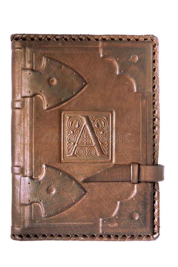Leather cover of the diary stock image