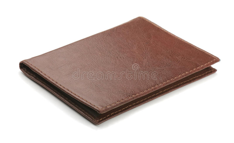 Leather cover. Old brown leather cover isolated on white stock photography