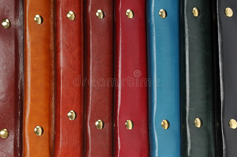 Leather covers. A set of colorful leather covers royalty free stock photography
