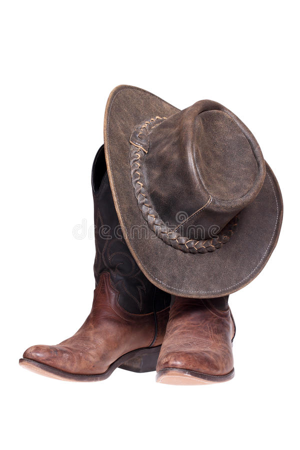 Free Leather Cowboy Boots And Hat Royalty Free Stock Photos - 28424558