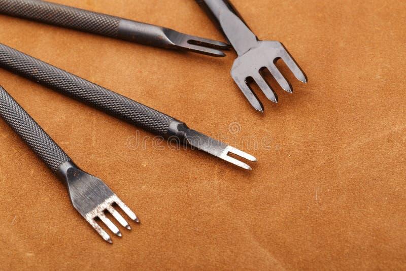 Leather craft equipment stock photos