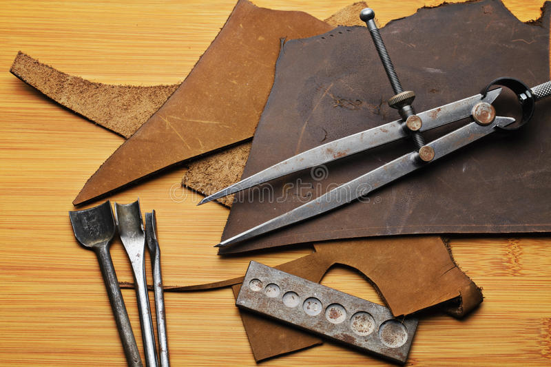 Leather craft equipment royalty free stock photo