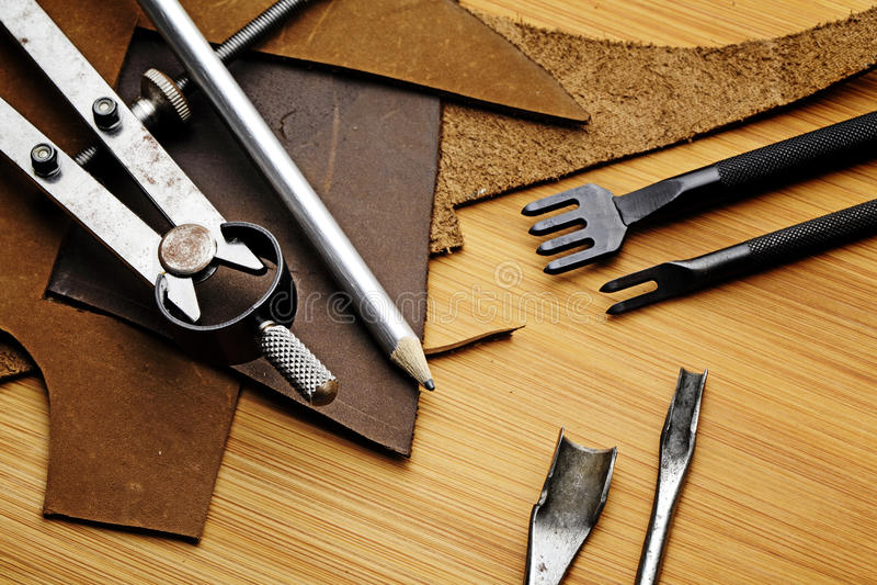 Leather craft equipment stock photo