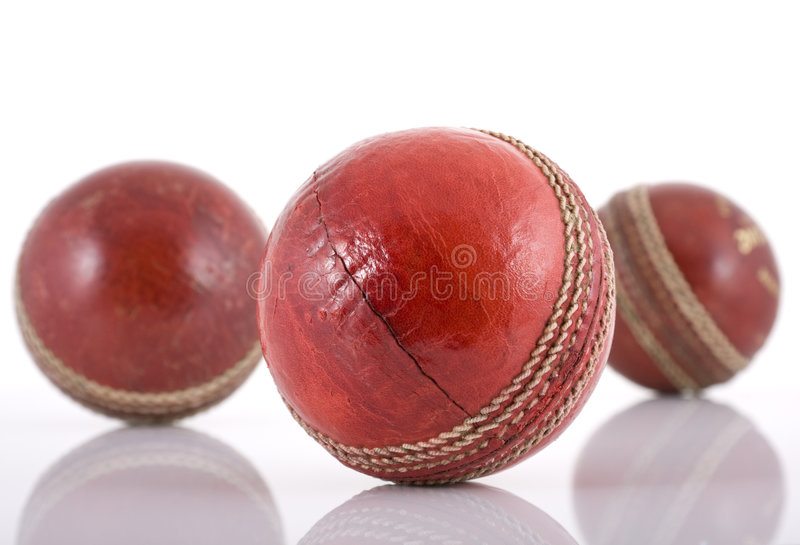 Leather cricket balls stock photography