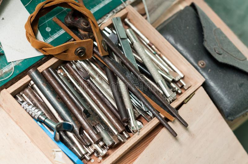 Leather equipment stock photo