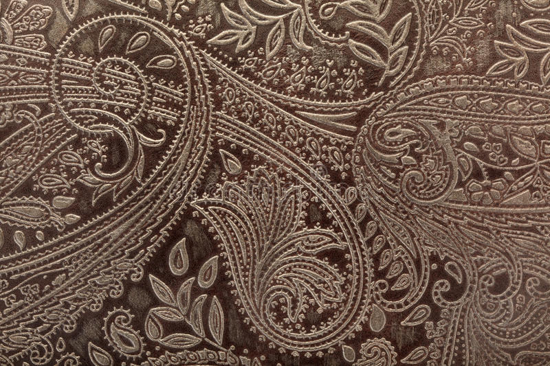 Leather floral pattern background. Embossed leather floral pattern background stock photo