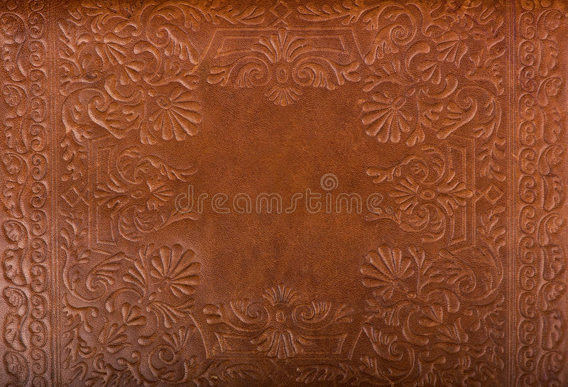 Leather floral pattern background. Close up royalty free stock images