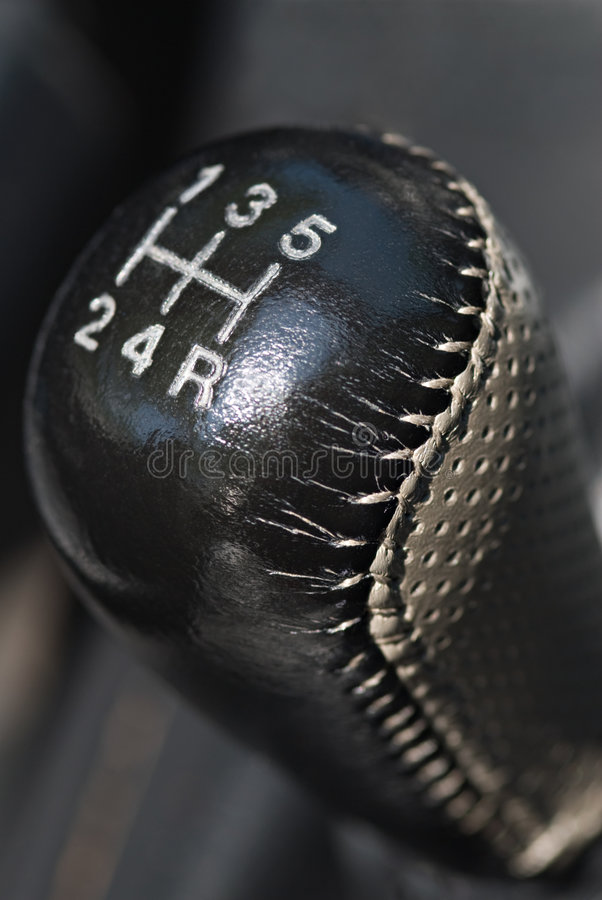 Leather Gear Shift Knob. Leather five-speed gear shift knob royalty free stock images