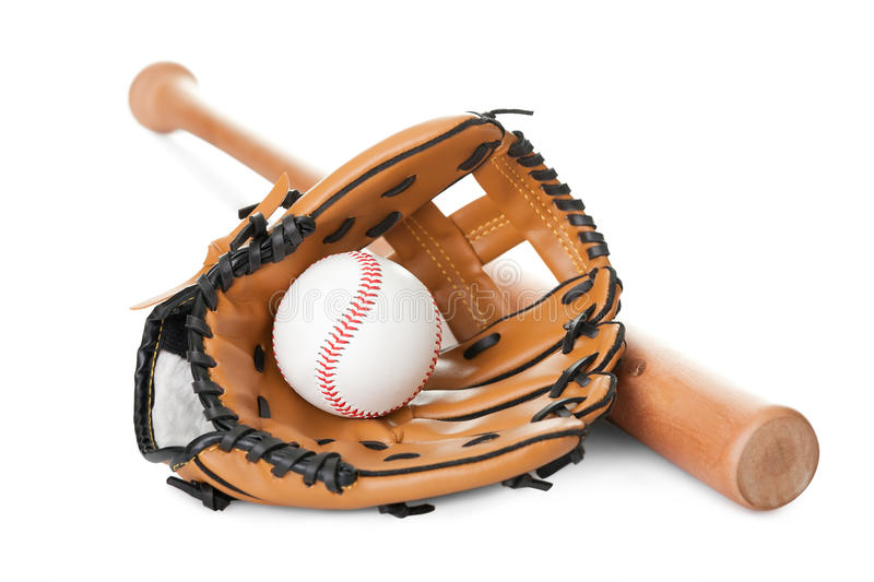 Leather glove with baseball and bat on white royalty free stock images