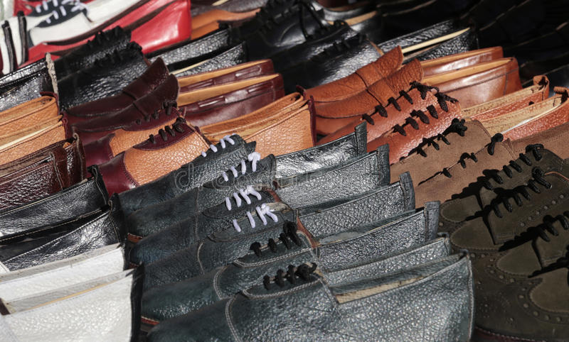 Leather handmade shoes stock images