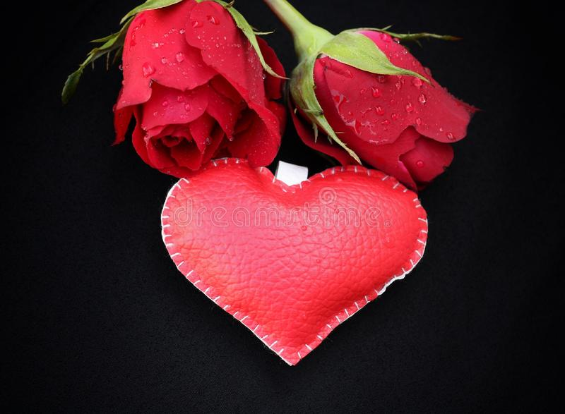 Leather heart with red roses. Leather heart with red roses for valentine day royalty free stock photos
