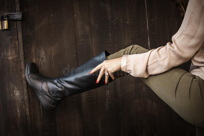 Leather high boots stock images