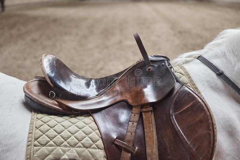 Leather horse saddle closeup. For the rider. stock images