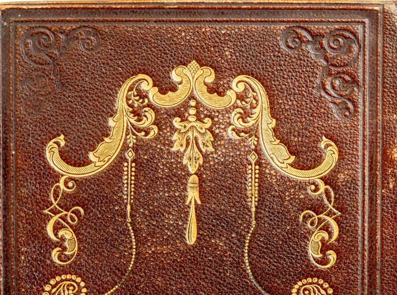 Closeup of Leather Hymnal with Gold Stamping stock image