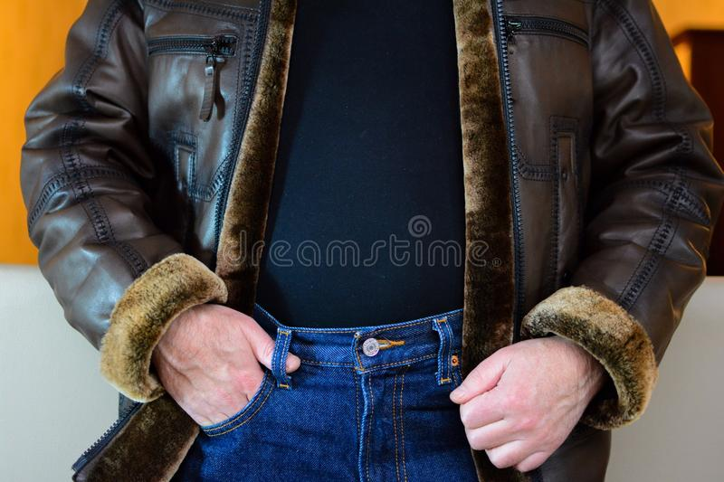 Leather jacket. Leather fur jacket stock image