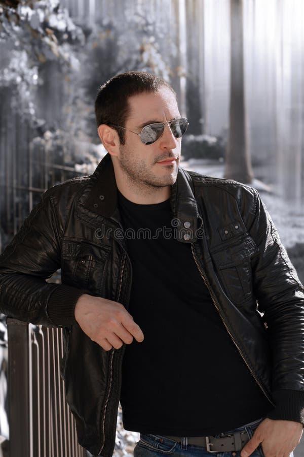 Download Leather jacket guy stock photo. Image of glamour, macho - 17545350