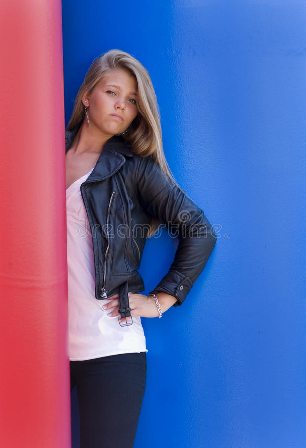Leather Jacket and Model stock photos